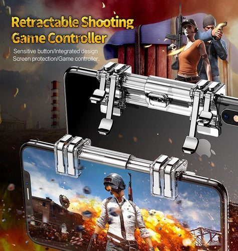 Retractable Shooting Game Controller Metal Fire Button Aim Key Phone Game Trigger for PUBG Rule of Survival L1 R1 4-7inches