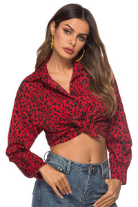 Leopard Print Long Sleeve Crop Top Button Lapel Casual Blouse