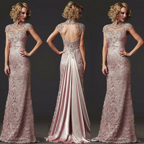 Long Lace Evening Dresses 2019 Short Sleeve High Neck Formal Evening Gowns For Women