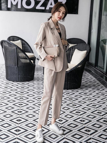 Women's Casual suits Work Pant Suits 2 Piece Sets Khaki Blazer Jacket Elastic Waist Pants