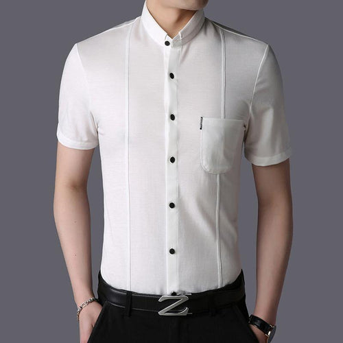 Fashion Summer Shirt Solid Color Slim Fit Short Sleeve Button Up Top Grade Casual Shirt