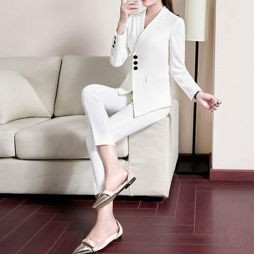 2 Pieces Set Pant Suit Women Business Jacket with Ankle-Length Trousers - moonaro