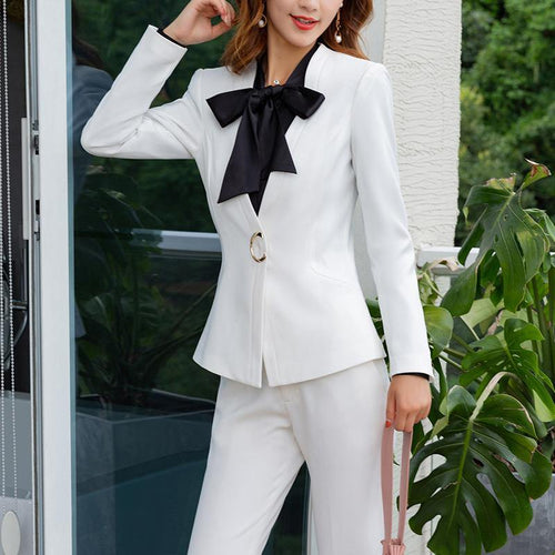 2 Pieces Set Pant Suit Business Jacket with Wide Leg Pants - moonaro