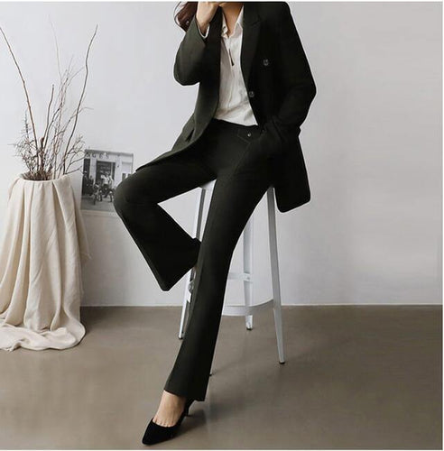 Women Pants Suit Notched Double Breasted Blazer Pencil Pant OL Style 2 Pieces Set