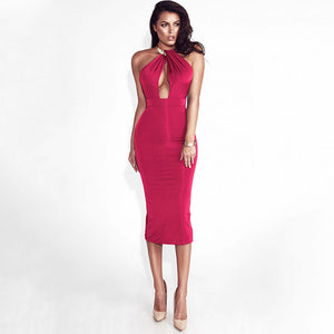 Bodycon Bandage Dress Women Off Shoulder Choker Long Pencil Dress Sexy Backless Split Winter Dress