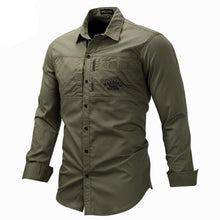 Load image into Gallery viewer, Fashion Military Shirt Long Sleeve Multi-pocket Casual Shirts Brand Clothes Army Green