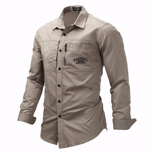 Fashion Military Shirt Long Sleeve Multi-pocket Casual Shirts Brand Clothes Army Green
