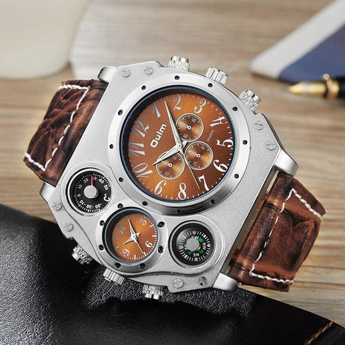 Unique Design Watches Men Luxury Brand Male Quartz Clock Big Size Two Time Zone Casual Wristwatch