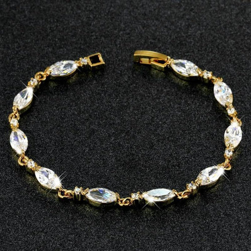 Clear Genuine Prong Setting Solid Yellow Gold Filled Women's Bracelet Lady's Jewelry