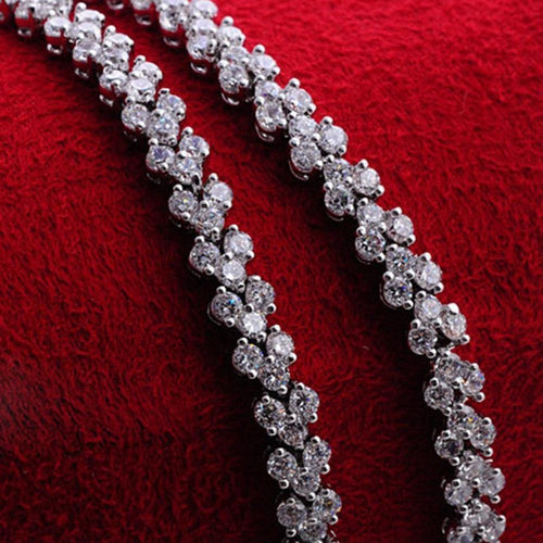 Bridal Bracelet  White Gold Filled Delicate Womens Bracelet Wrist Chain 18cm