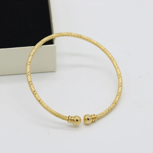 Wire Bangle Engraved Design Thin Cuff Bangle Yellow Gold Filled Classic Women's Bracelet - moonaro