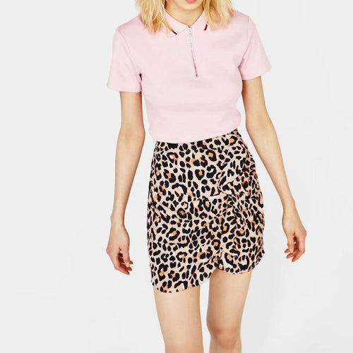 Skirts High Waist Ruffle Stitching Mini Sexy Leopard Print Skirts