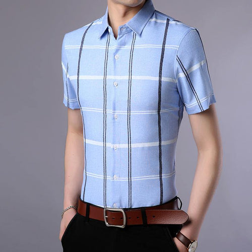 Fashion Shirt Men's Plaid Summer Slim Fit Short Sleeve Button Up Casual Shirt