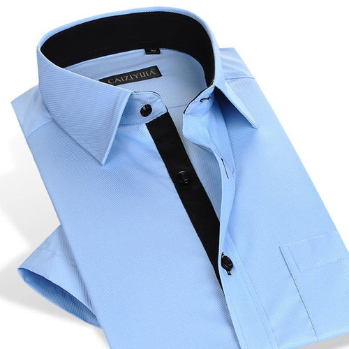 Short Sleeve Solid Twill Dress Shirt Single Pocket Standard-fit Formal Work Office