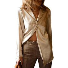Load image into Gallery viewer, Women Blouses Shirts Sexy Cross Type Loose Ladies Top Casual Satin Shirt Women Street Wear