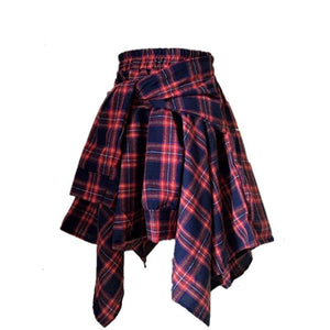 High Waist Shorts Streetwear Girl Plaid Irregular Fake 2 piece Shirt Skirt for Women Summer