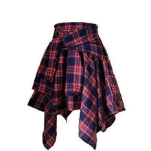 Load image into Gallery viewer, High Waist Shorts Streetwear Girl Plaid Irregular Fake 2 piece Shirt Skirt for Women Summer