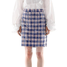 Load image into Gallery viewer, PVC Lattice A Word Skirt Fashion Wild High Waist Skirt Blue Plaid Sexy Bag Hip Skirt