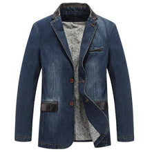 Load image into Gallery viewer, Men's Denim Blazer Fashion Male Slim Fit Casual Denim Coat Jacket Men Blazer Coat - moonaro