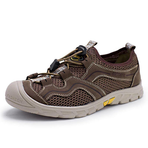 Men Casual Mesh Genuine Leather Patchwork Breathable Outdoor Male Sneakers Walking Footwear Shoes
