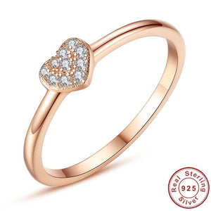 Simple 925 Sterling Silver Finger Rings Pave Cubic Zirconia Lovers Rose Gold Color Wedding Ring for Women Jewelry