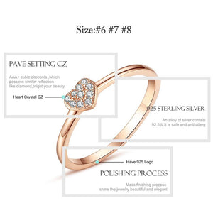 Simple 925 Sterling Silver Finger Rings Pave Cubic Zirconia Lovers Rose Gold Color Wedding Ring for Women Jewelry - moonaro