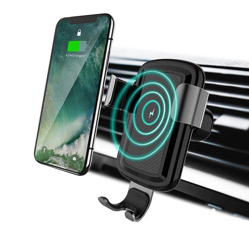 Car Mount Qi Wireless Charger For Samsung S9 S8 Note 9 Wireless Charging For iPhone X XR XS MAX 8 in Car Phone Holder