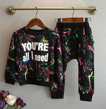 Load image into Gallery viewer, Summer 2pc Black Top + Pants Toddler girl clothing Clothes Children clothing set boys Girls tracksuit