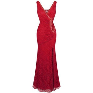 Formal Party V Neck Beading See Through Lace Evening Dress robe de soiree