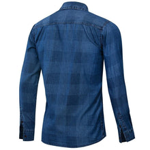 Load image into Gallery viewer, New Fashion Casual Denim Shirt Men Slim Fit Long Sleeve 100% Cotton Plaid Shirt Male Brand Clothing