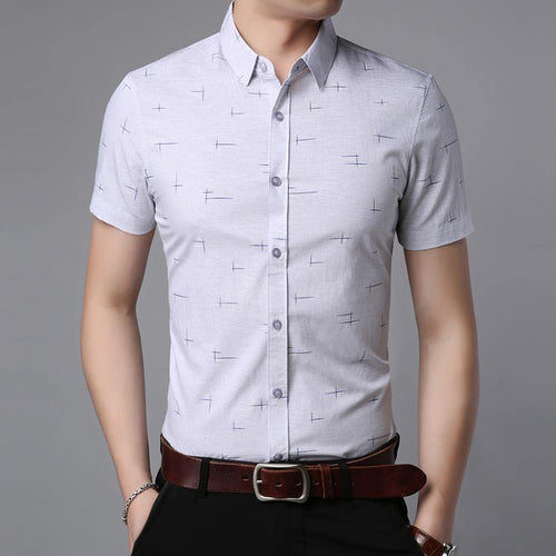 Fashion Shirt Men Dress Shirts Summer Slim Fit Short Sleeve Button Up Casual Shirt