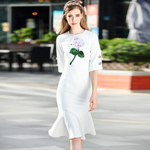 Women's Spring Beach Boho Party Office Flowers Button Vintage Elegant Chic Mermaid White Dress