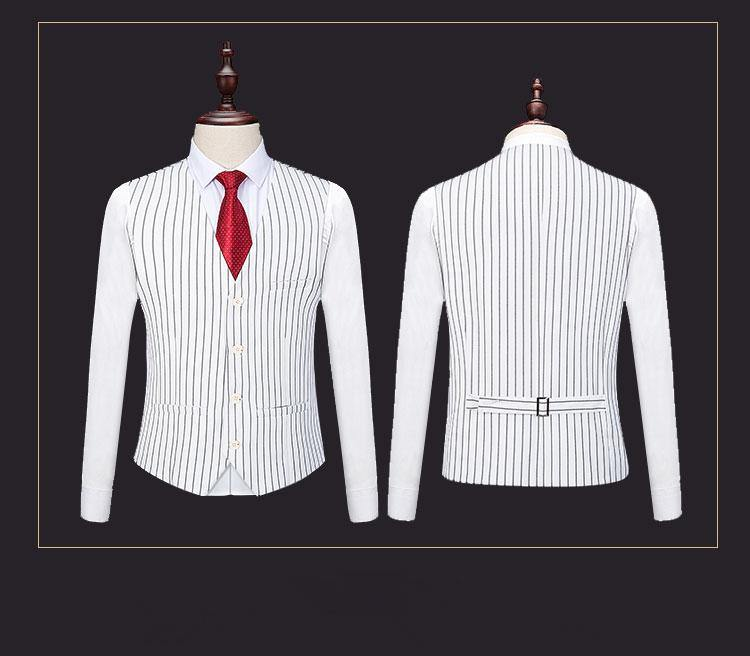 Striped Suit Black White Wedding Suits For Men 3 Pieces Slim Fit Costume