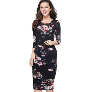 Autumn Winter Print Floral Patchwork Button Casual Dress Business Zip Back Bodycon Office Dress