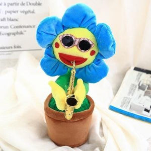 Saxophone Dancing And Singing Flower Enchanting Sunflower Soft Stuffed Plush Toys Funny Electric Toys for Kids Gift