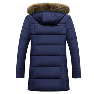 Parka Men winter jackets New Thick  Long Winter Parkas Warm Fashion Business Jackets  Coats Fur Hooded