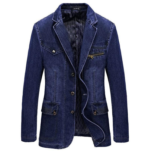 Men Denim Blazer Jacket Spring Fashion Cotton Casual Suit Jackets Male Slim Fat Coat Blazer Men Blazer