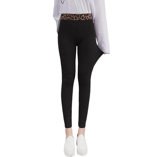 Thin Women Leggings Leopard High Waist Elastic Legging Solid Color Casual Leggings