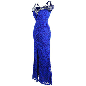 Women's Beading Boat Neck Lace Pleated Party Gown Slit Long Formal Mermaid Evening Dresses