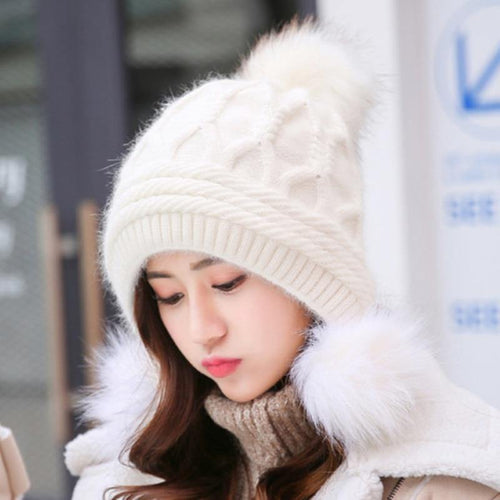 High Quality Beanies Rabbit Fur Knitted Hat Women Pompoms Skullies Beanies Thick Warm Fleece Lined Winter Hat Earflap Cap