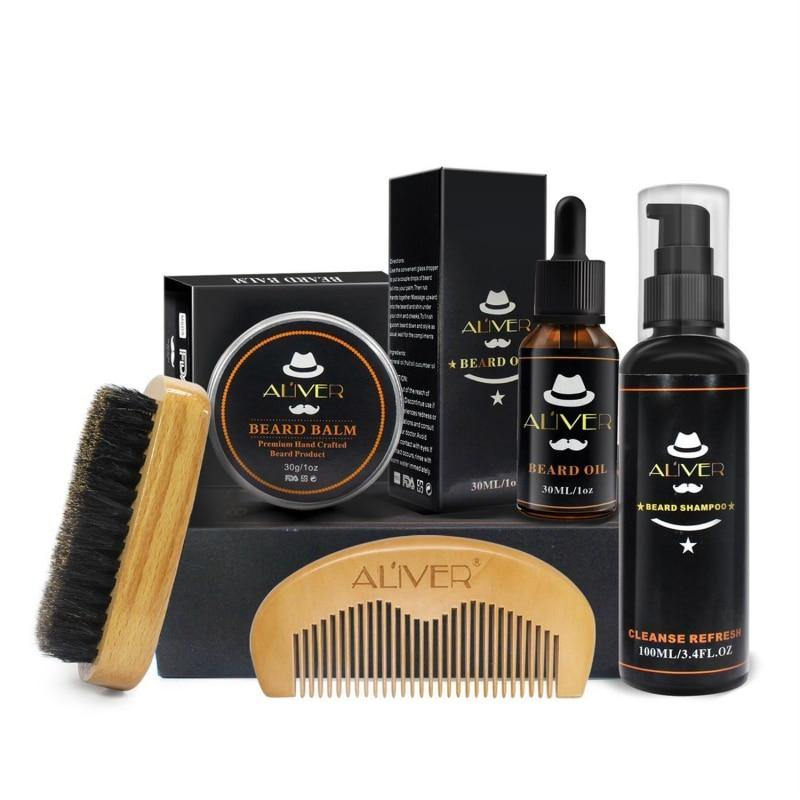 Mens Beard Oil Kits With Scissor,Comb,Brush,Beard Oil,Styling Shaping Mustache Hair Growth Beard Styling Beard Care Set