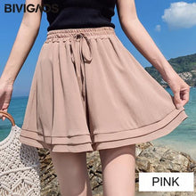 Load image into Gallery viewer, Summer Chiffon Shorts Korean Ladies Double Layer High Waist Wide Leg Shorts Casual Loose Skirt Short For Women