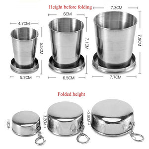 1Pcs Stainless Steel Folding Cup Travel Tool Kit Survival EDC Gear Outdoor Sports Mug Portable for Camping Hiking Lighter