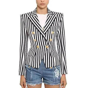 Women Work Wear Blazer Street-Wear Fashion Striped Printed Top Jacket Two Colour Slim Blazer