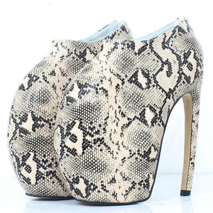 Strange Style curved Thin Heels Platform Sexy Snake Print 18CM Super High Heel Women Ankle Boots