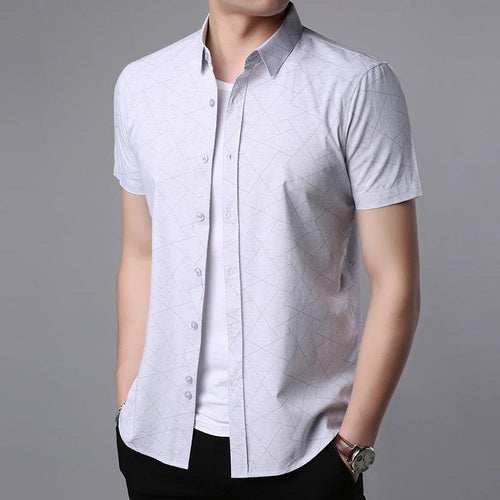 Fashion Summer Men Dress Shirts With Collar Short Sleeve Slim Fit Button Up Casual Shirt