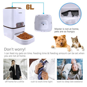 Automatic Pet Feeder 6L Dog Cat Feeder with Voice Recording LCD Screen Bowls For Food Dispenser 4 times in 1 Day