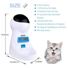 Load image into Gallery viewer, 3L Automatic Pet Feeder With Voice Record Pets food Bowl For Medium Small Dog Cat LCD Screen Dispensers 4 times One Day