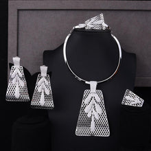 Load image into Gallery viewer, Luxury Party Square 4PCS Jewelry Set For Women Wedding Zircon Bridal Jewelry Set - moonaro