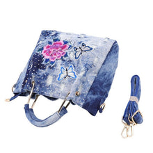 Load image into Gallery viewer, handbag women washed denim shoulder bag female flower embroidery tote bag high quality zipper crossbody bag